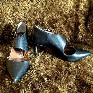 Point Toe Black Ankle strap heels